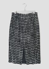 COACH WOMENS BLACK & WHITE TWEED BOUCLE SPLIT FRONT PENCIL SKIRT -US 6/UK 10-