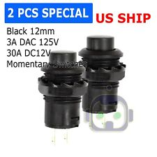 2 Pack SPST Normally Open Momentary Push Button Switch Black    32731B