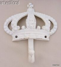 Cast Iron King CROWN Wall HOOK Majestic White Queen Princess Decor