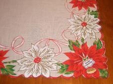 Vintage NWT Christmas Poinsettia Hanky Handkerchief Han