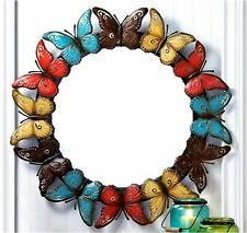 "COLORFUL IRON BUTTERFLY WALL MIRROR  * 36"" Round * NIB"