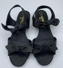 CHANEL black 39 EUR size Sandal flats
