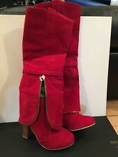 FASHION LADIES WOMENS MID HIGH WEDGE HEEL WINTER SUEDE KNEE CALF BOOTS SIZE 4-10