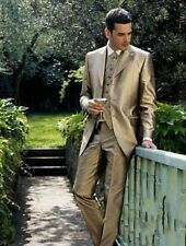 Custom Gold Satin Groom Tuxedos Groomsman Suit High Quality Wedding Mens suits