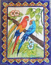 # 23 Mexican Talavera Mosaic Mural Tile Handmade Folk Art Parrots Backsplash