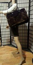 Vintage Suzanne Somers Faux Fur Brown Weekender Travel Tote Laptop Gym Hand Bag