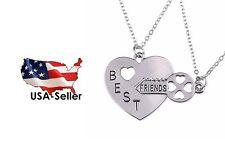 Best Friend Friendship Necklace Heart Key Set Silver Pendant Couple Necklace
