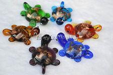 FREE Wholesale lots 24pcs Turtle Gold Foil Lampwork Glass Pendants DIY Necklace