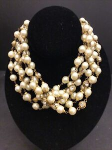 VINTAGE 1984 Chanel Runway Crystal CC Pearl Necklace Dress Choker Gold