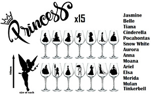 Complete set of Princesses, disney  tinkerbell, Vinyl Stickers Wine Glass**