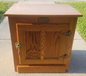 Vintage Oak Paneled WHITE CLAD Ice Box End Side Night Panel Table Read**