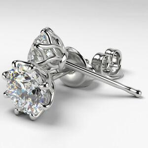 Elegant Flower Stud Earrings Women 925 Silver Jewelry White Sapphire A Pair/set