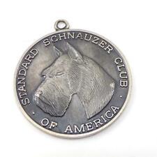 Sterling Silver Standard Schnauzer Club Of America Dog Large Pendant Charm Lhl11