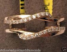 14k Rose Gold  0.19 ct Solitaire Enhancer Diamonds Ring Guard Wrap Wedding Band