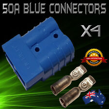 4 x BLUE 50Amp DC Anderson Style Plug 12v to 600v Power Battery Connector*