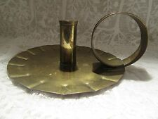 Large Vintage Brass Candle Holder Candlestick Wee Willie Winkie Cottage Decor