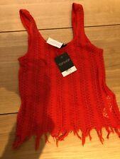 Topshop Vest Top Size 8 Deep Orange