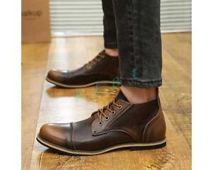 Mens Oxford Ankle Boots Biker Leather Formal Dress Shoes 2 Color US Size 5-11