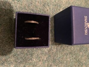 Swarovski Cubic Zirconia (Black) Silver Half Hoop Earrings. Pierced. BNIB