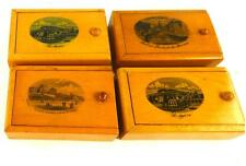 FOUR ANTIQUE MAUCHLINEWARE SMALL WOODEN BOXES FRENCH SCENES  ST AGREVE VILLERS