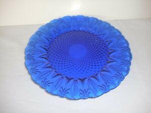 "Royal Sapphire Cobalt Blue Leaf Fan Dinner Plate 10 1/2""  FRANCE  Avon"