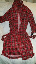 $80 NWT Mens Tommy Hilfiger Logo Red Plaid Plush Fleece Bath Robe Wrap One Size