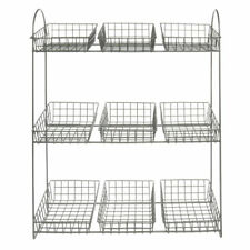 "3-Tier Countertop Merchandising Display Stand With 9 Wire Baskets Silver - 19""L"