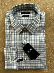 Hugo Boss Black Label Enzo Dress Shirt 15.5 34/35 Green Multi Plaid NWT $128