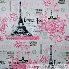 BonEful Fabric Cotton Quilt White Pink Flower Eiffel Tower Paris FQ SALE L SCRAP