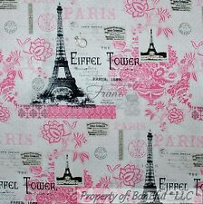 BonEful Fabric FQ Cotton Quilt White Pink B&W Flower Eiffel Tower Paris French