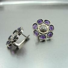 Hadar Designers Amethyst Zircon Earrings Handmade 9k Yellow Gold 925 Silver (SNy