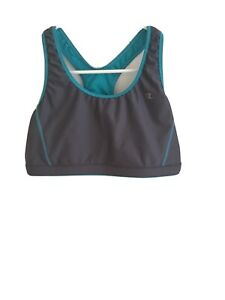 Champion Womens Sports Bra Size:M Gray With Blue Mesh Lined Pullover