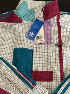Adidas Originals Jacket Wind Breaker Men's Medium Vintage Retro Full Zip NWT$140