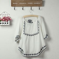 Vintage Embroidered  Boho Hippie Ethnic Tent Mini Top White Tunic Blouse Free Sz