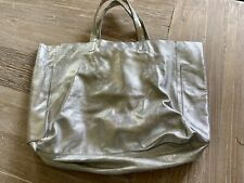 LARGE SILVER LEATHER TOTE SHOPPER FROM WAREHOUSE