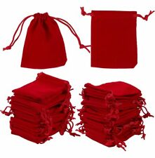 "100 Drawstring Velvet Jewelry Bags Wedding Party Favor Gift Pouch Red 3.5""x2.7"""