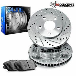 For Ram 2500, Ram 3500, Ram 4000 Front Drill/Slot Brake Rotors+Ceramic Pads