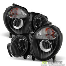 Black 2000 2001 2002 Mercedes Benz W210 E320 E430 E55 Projector Headlights 00-02