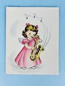 "Norcross Signature 1940s ""Christmas Music"" Angels Christmas Card Vintage Unused"