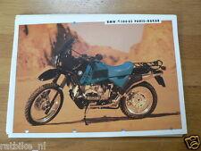BMW BROCHURE PROSPEKT FOLDER R100GS PARIS-DAKAR 1991 DUTCH 2 PAGES PH653