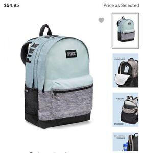 Victorias secret Pink Campus $55 Backpack Full Size Zipper Bookbag NWT