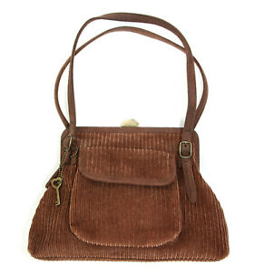 Forever by Fossil Corduroy Handbag Shoulder Bag Top Lock Small Purse Brown