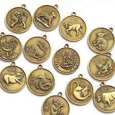 12Pcs Copper Coated Lucky 12 Animals Tibet Buddhist Bodhisattva Beads Finding
