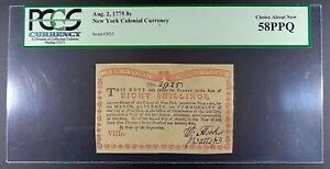 1775 New York Water Works 8 Shillings Colonial Note, NY-175, PCGS ChAN-58 PPQ.