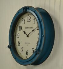 Nautical Porthole Clock in Antique Blue 17""