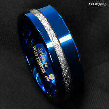 8mm Blue Polished Tungsten Ring Off Center 925 Silver Men's Wedding Band Ring