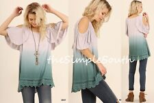 NWT UMGEE Green Ombre Lace Ruffle Hem Drapey Swing Cold Shoulder Tunic Top S