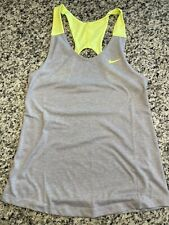 Womens Nike Dri Fit Tank Top Small Gray and Neon Yellow Open Racerback Athletic