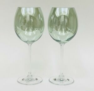"Set Of 2 KROSNO Iridescent Green Crystal Wine Glasses 8.5"" Poland"