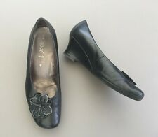 Gabor Court Shoes Wedge 6 39 Black Leather Round Toe Flower Smart Office Work